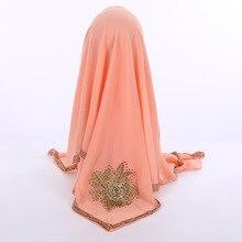 Summer Muslim Hijabs Square Headscarf With Diamonds Appliques Women Bubble Chiffon Shawls Wraps Soft Islamic Foulard