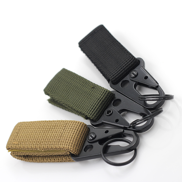 Brand new Carabiner Hook Webbing Buckle Thick Nylon Molle Belt Aluminum D-type Hanging Key Ring Outdoor Equipment Tool 3 Colors