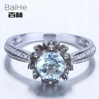 BAIHE Sterling Silver 925 0 75ct Certified Flawless Round Genuine Aquamarine Anniversary Women Trendy Fine Jewelry