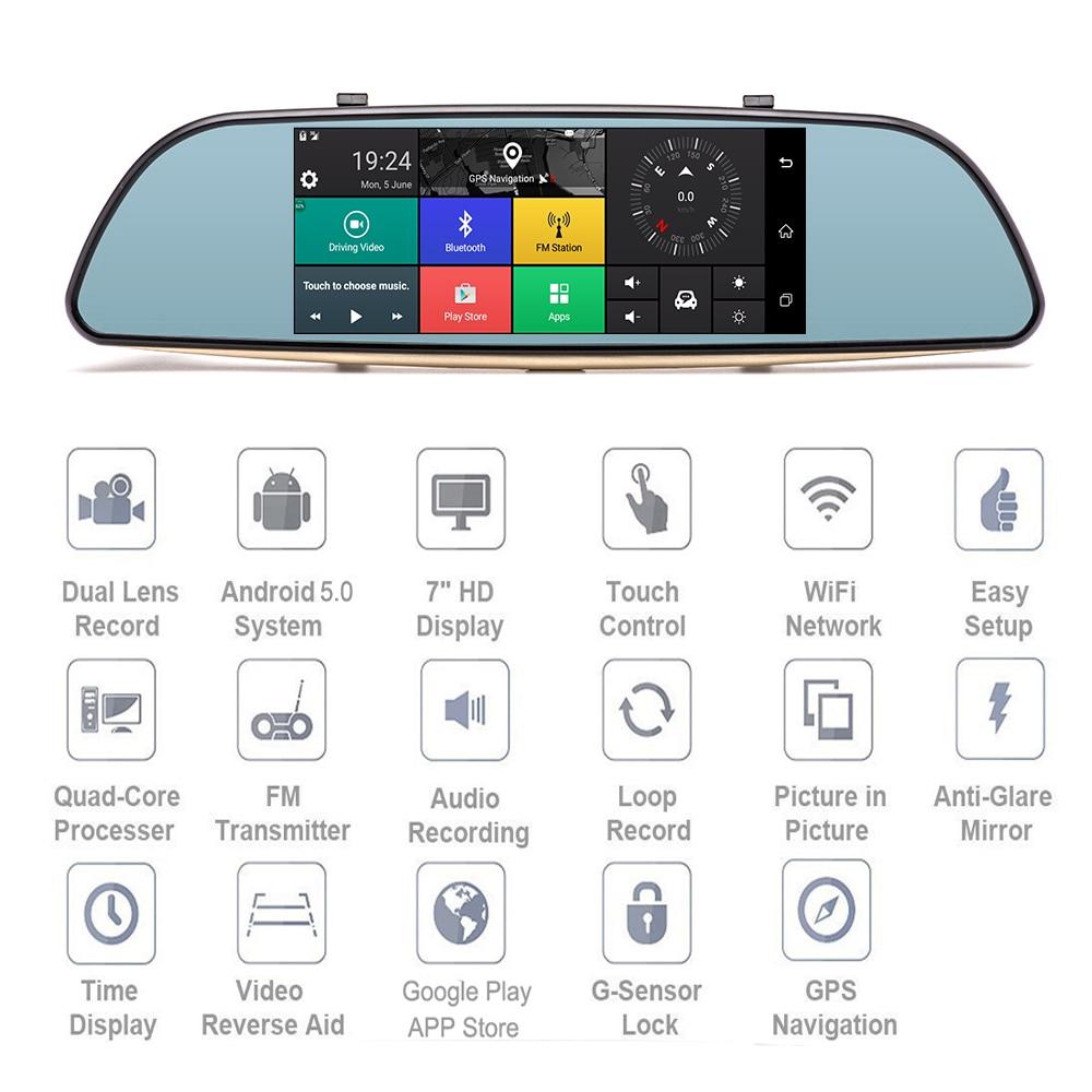 Podofo Car DVRs Dashcam Dual Dashboard Camera Android