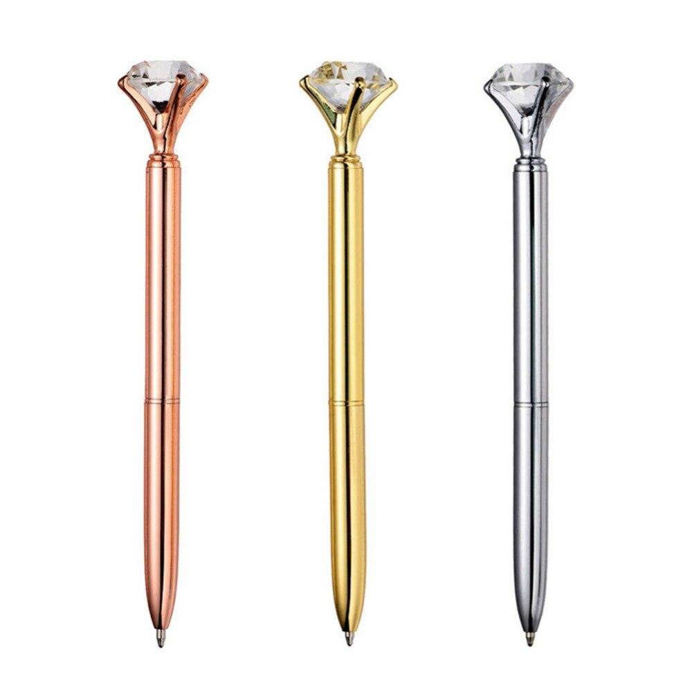 40 pcs Metal Crystal Pen Diamond Wafer Ballpoint Pen 0.7mm Blue Writing Pen Student School Gift Ball Pen Like Beauty