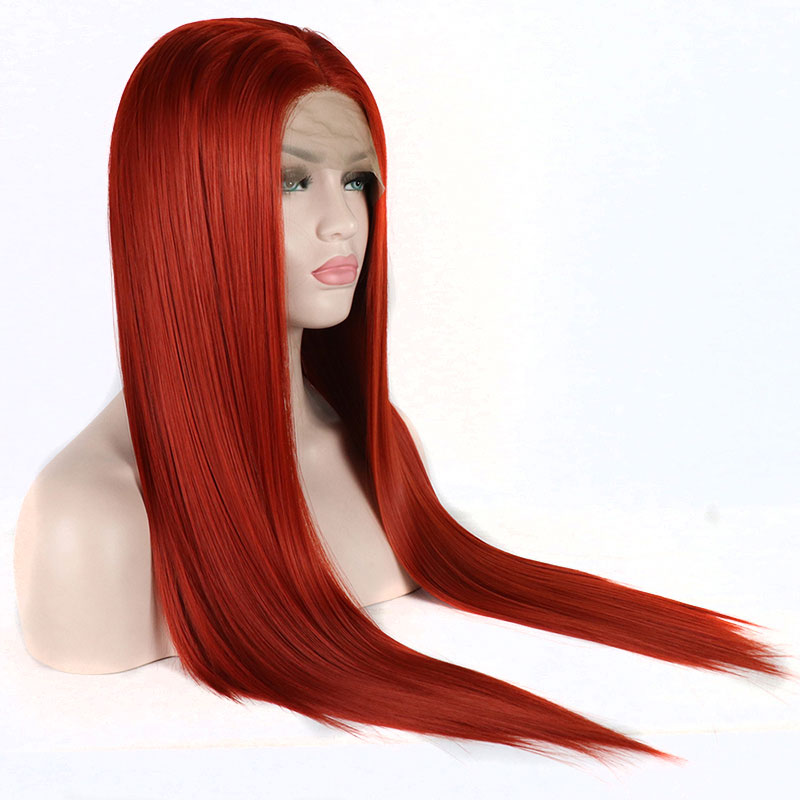 Bombshell 180 Density Straight Red Lace Front Wig Synthetic Hair Heat Resistant Fiber Natural Party Wigs
