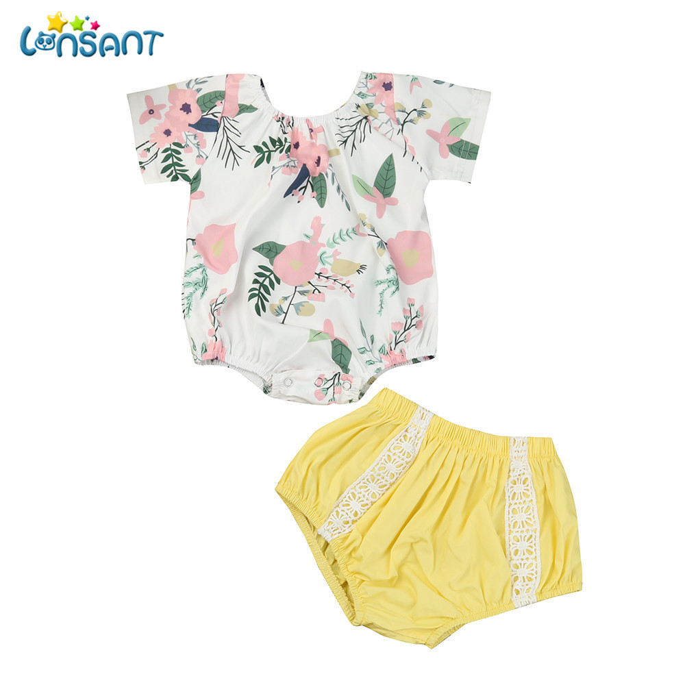 LONSANT Summer Hot 2018 Toddler Kids Baby Girl Short Sleeve Outfits Clothes Printing Romper+Lace Short Pants 2PCS Set 3pcs set newborn infant baby boy girl clothes 2017 summer short sleeve leopard floral romper bodysuit headband shoes outfits