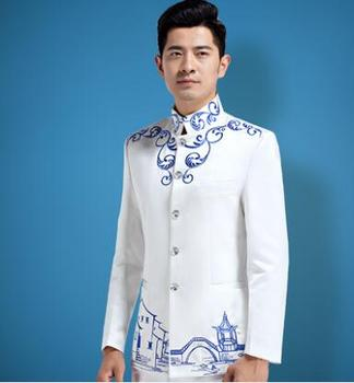 9d1043750a23 Blazer hombres vestido formal último abrigo pantalones diseños traje  hombres terno masculino chino túnica traje blanco soporte collar traje homme