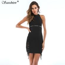 цена на Elegant Halter O-neck Sexy Dress 2019 Summer Jersey Cotton Sleeveless Hem Hollow Out Night Club Bodycon Party Dresses Vestidos