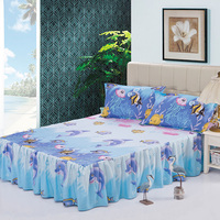 3pcs cartoon modern sheet set bed skirt pillow shams double full twin bedclothes,fade,wrinkle,stain resistant