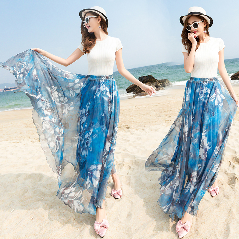 Summer New Womens Floral Bohemian Blue and Pink Boho Maxi Long Skirts Silk Beach Chiffon Big Swing Shirts Holiday