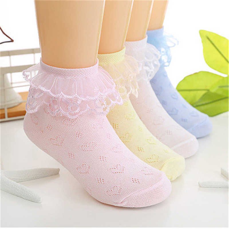 Toddlers Kid Girls Lace Short Socks Ankle Mesh Breathable Soft Solid Children Casual Lovely Gifts Fashion Summer New 2019