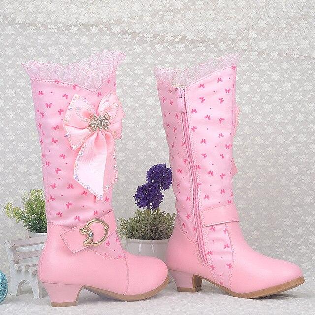 22a7916e28d Crianças das meninas da high-salto alto botas criança moda inverno botas de  couro de
