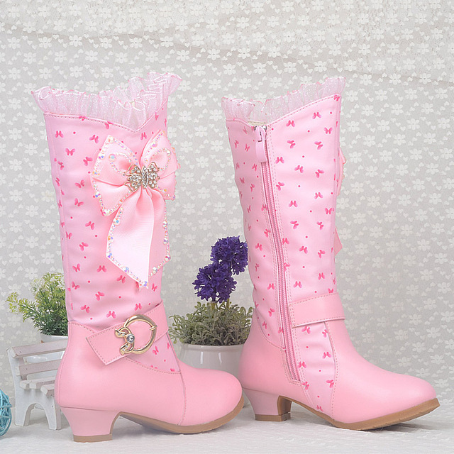 10358606c07 US $49.87 |kids girls high heeled boots child winter fashion snow leather  boots with crytal knee high shoes girls princess high heeled boot-in Boots  ...