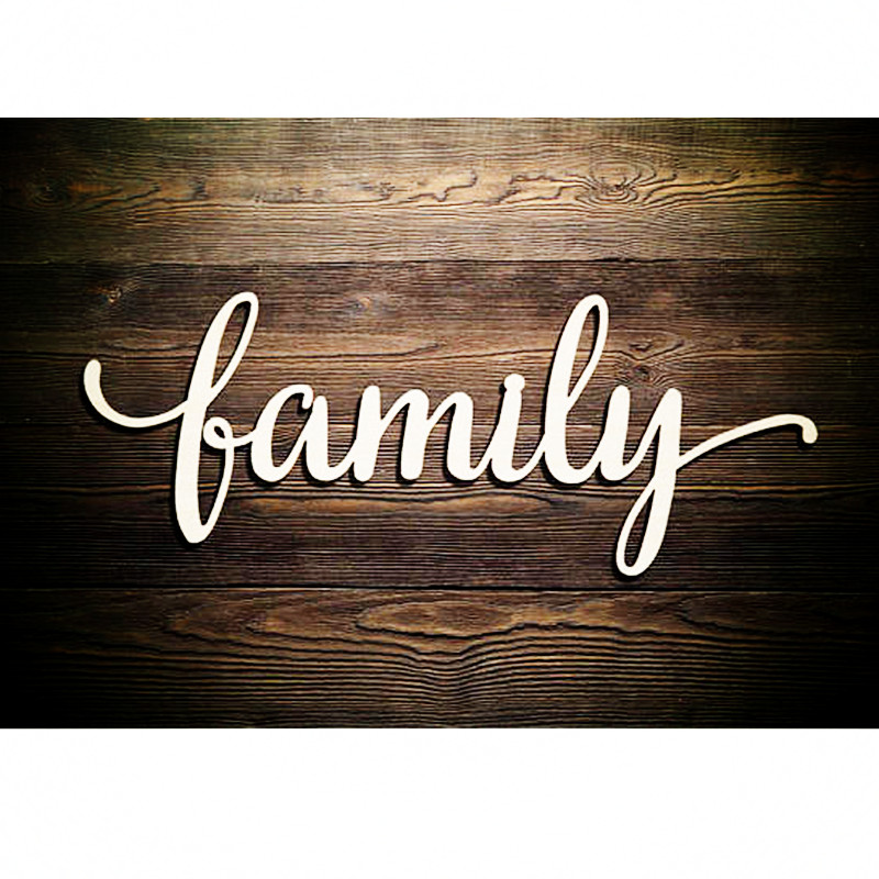 10pcs Family Script Word Wood Sign Art Gallery Wall Laser Cut Family Wood Sign Rustic Family Wall Decorations
