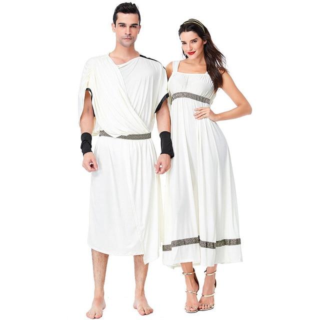 ba9fd06d2 Adult Couples Halloween Ancient Greek Roman Toga Goddess Costume Female  Fancy Warrior Citizen Cos Robe Dress