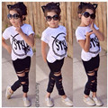 Kids Girls Set Short Sleeve Casual Clothing Sets Summer Kids Printed Clothes Baby T Shirts + Pants Toddler Girl Clothing Suit