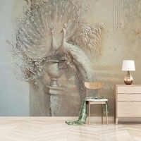 Estilo Europeo Retro De 3D alivio Pavo Real murales De fotos sala De TV sofá estudio decoración De Papel De Parede Fresco