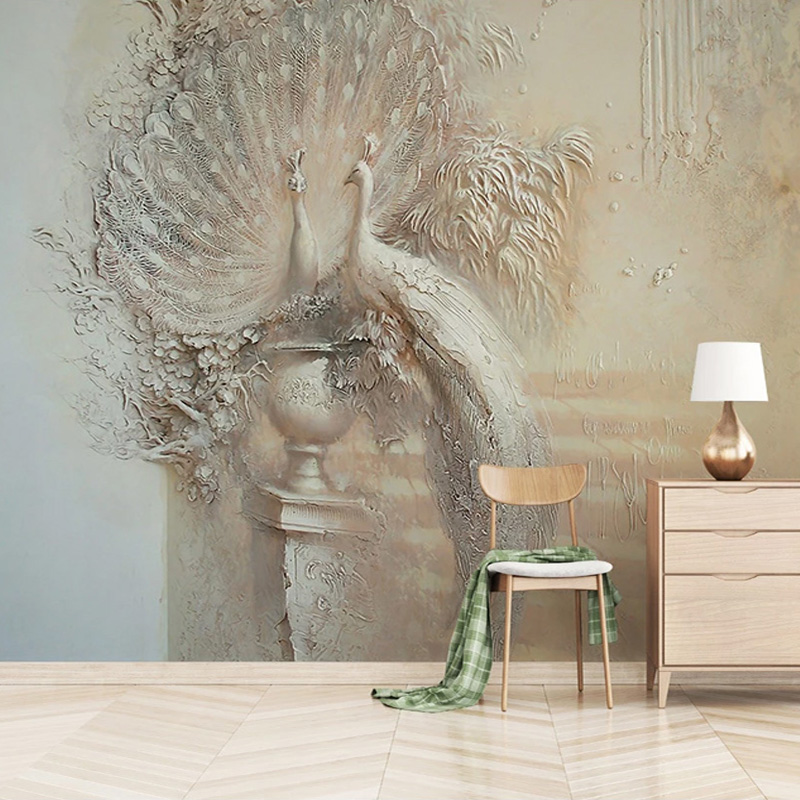 European Style Retro 3D Relief Peacock Photo Wall Murals Living Room TV Sofa Study Home Decor Wallpapers Papel De Parede Fresco