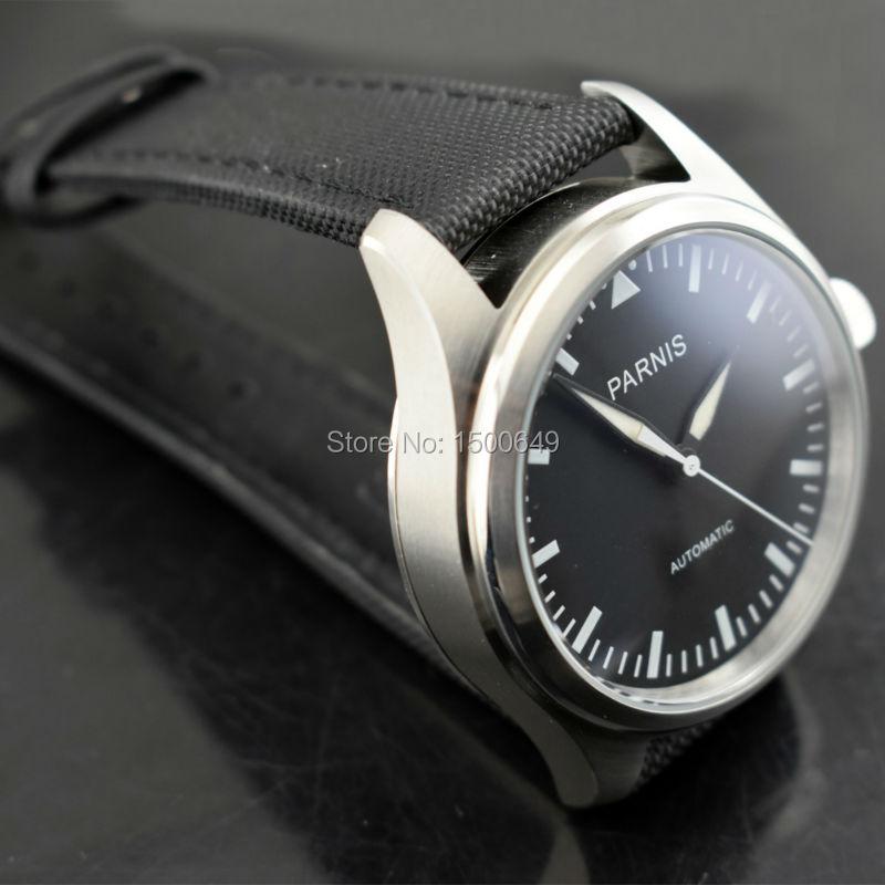 P arnisใหม่42มิลลิเมตรสีดำหน้าปัดเรืองแสงนาฬิกามือสแตนเลสกรณีสีดำผ้า/ผ้าใบหนังสายอัตโนมัติผู้ชายของนาฬิกา-ใน นาฬิกาข้อมือกลไก จาก นาฬิกาข้อมือ บน   2