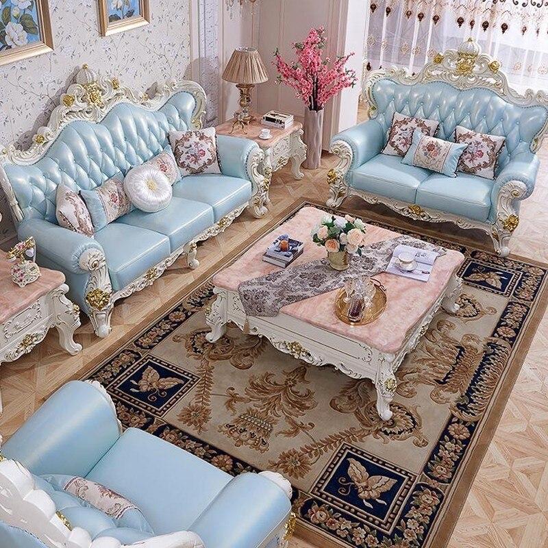 Luksusowe europejski styl pełna z litego drewna krzywa skórzana Sofa do salonu 3 + 2 + 1 meble muebles de sala divano koltuk takimi