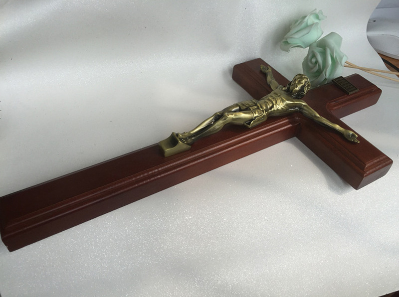 Catholic Crucifix Sapele Wood Alloy Crucifix Ornaments Decorations Jesus 40*20*2.5cm Cross Crafts Lamb Of God Figure Iesus