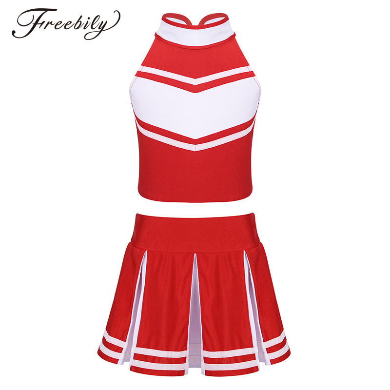 Kids Girls Cheerleader Dance Costume Sleeveless Zippered Tops with Pleated Skirt Sets for School Stage Performance Cosplay Party