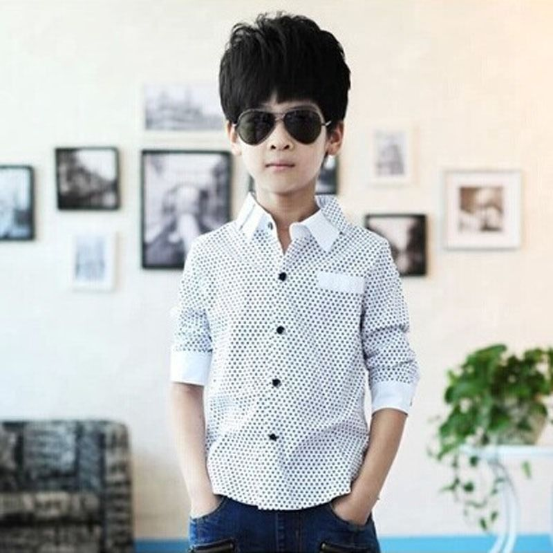 2016 Autumn winter Boys Formal Plain Long Sleeved Shirt Party Polka Dot Shirts 3-8Years