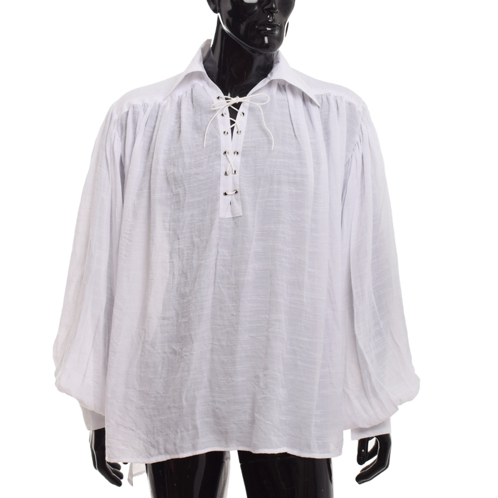 Vintage Pirate Costume Renaissance Gothic Medieval Colonial Vampire Gentlemen LANTERN SLEEVES White Black Caribbean Shirts