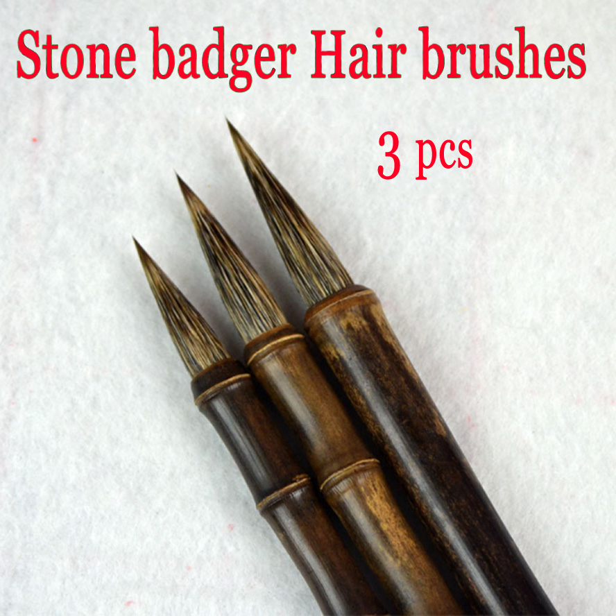 3 pcs best Chinese Calligraphy Brush Stone badger hair brush for painting drawing artist brush bamboo penholder supplies kiwarm useful durable bear hair chinese calligraphy japanese kanji drawing brush bamboo shaft calligraphy brush for art painting