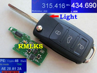 RMLKS New Flip 4 Button Remote Key Fob 315MHz 433MHz ID46 PCF7946 Chip Uncut HU66 Blade Fit For VW Touareg Remote Key