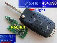 RMLKS New Lật 4 Nút Từ Xa Key Fob 315 MHz 433 MHz ID46 PCF7946 Chip Uncut HU66 Blade Phù Hợp Cho VW Touareg Từ Xa Chính