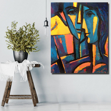 QKART Home Office Decor Canvas Wall Art Face Abstract Figure Oil Painting Canvas Print Wall Pictures for Living Room Pop Art