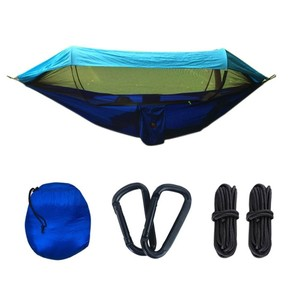 Image 5 - 2 Person Portable Outdoor Camping Hammock with Awning Mosquito Net High Strength Parachute Fabric Hanging Bed Hunting Swing
