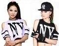 Ds джаз гарем женщин верхняя одежда свободно ультра-короткие футболки неоновые каракули отверстие хип-хоп танец костюм футболка