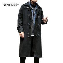QINTIDES  NEW woollen cloth long overcoat male Medium style men coat fashion windbreaker