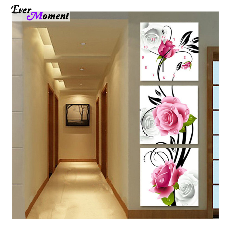 DIY Full Diamonds Embroidery Triptych flowers roses vertical version Diamond Painting Cross Stitch Diamond Mosaic ASF197