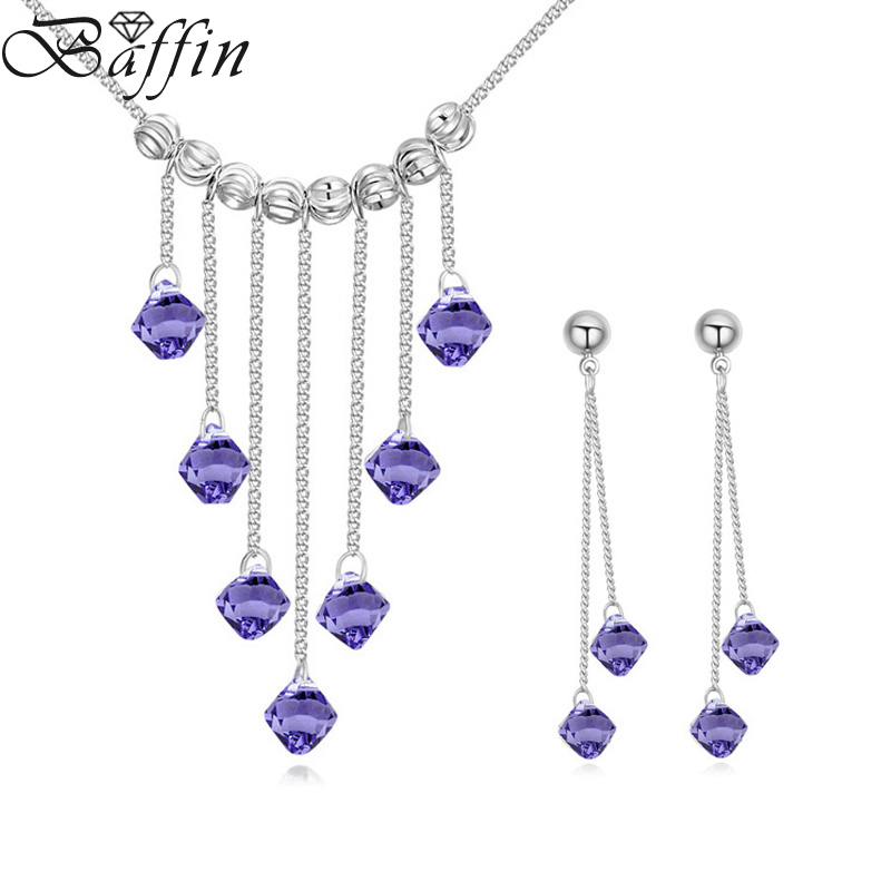BAFFIN Wedding Jewelry Sets Original Crystals From Swarovski Tassel Pendant Maxi Necklaces Drop Earrings For Women Fashion Joyas baffin crystals pave jewelry sets round pendant necklace maxi rings luxury accessories for women made with swarovski elements