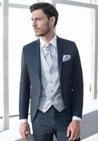 Peaked Lapel Two Buttons 5Pieces Silver VentTie Handkerchief Navy Bule Suits Fashion Suits Men Cusutme Made