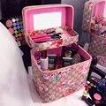 Nueva Impresión de La Vendimia Bolsa de Cosméticos de Gran Capacidad de la Bolsa de Aseo Portátil Mujeres de Doble Capa de Maquillaje Bolsas de Viaje Organizador De Almacenamiento