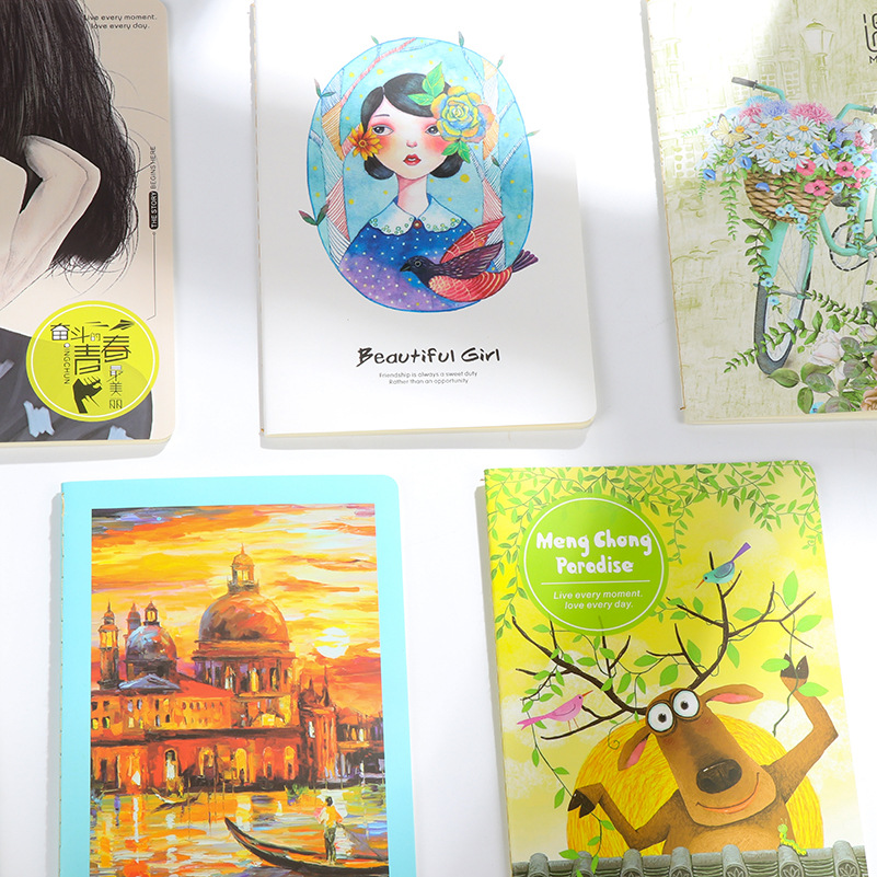 JUGAL 4pcs Korean Stationery A5 Car Line This Cute Cover Notepad 32K Notebook Students Learn Stationery
