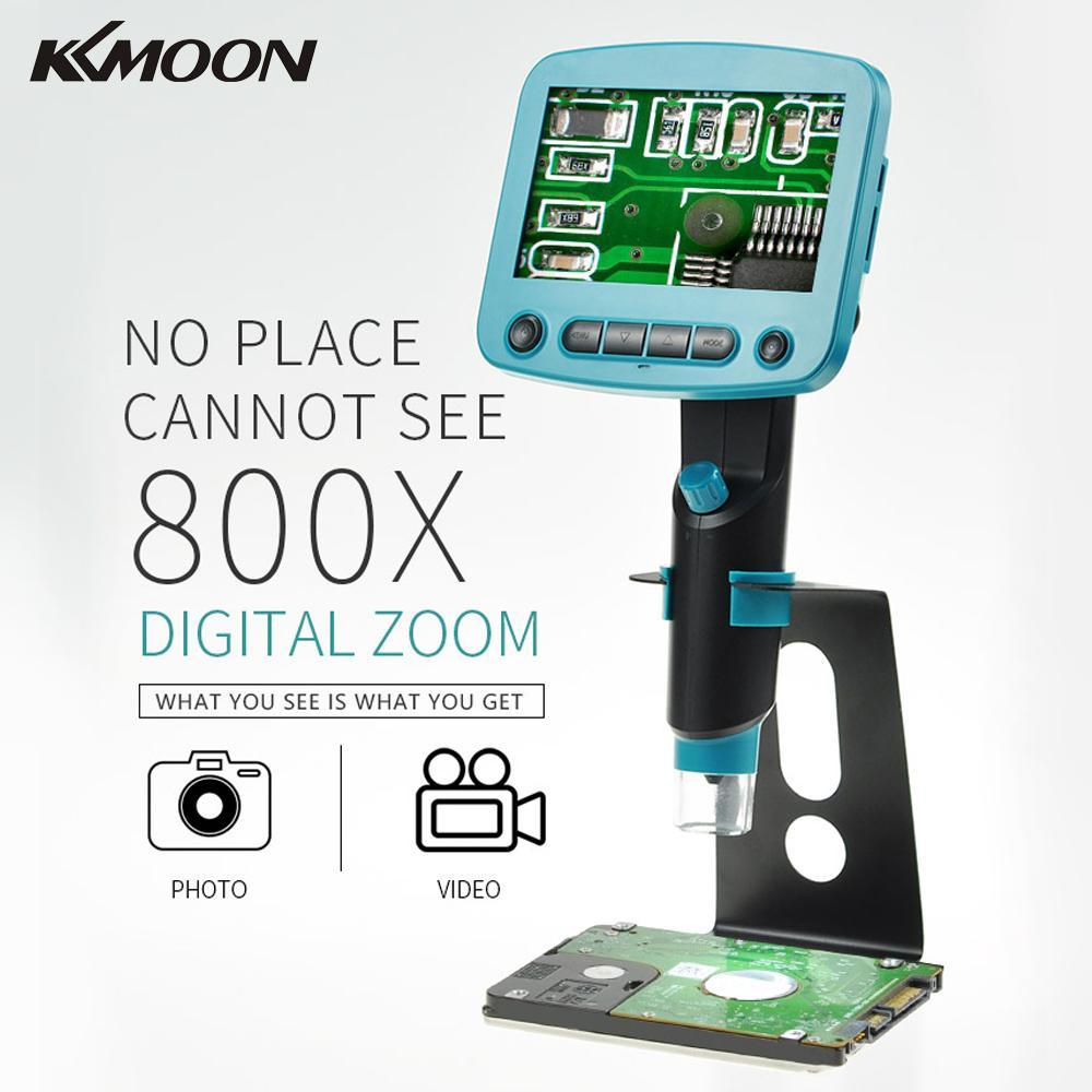 800x 4 3 Inch LCD Display Portable USB Digital Microscope High Brightness 8 LEDs Electron microscope