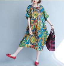 Erregina Women Long Maxi Dresses Ethnic Style Dress Round Neck Printed One-piece Cotton Plus Size