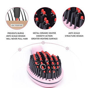 Image 5 - Elektrische Stijltang Borstel Keramische snelle Verwarming Elektrische borstel kam Irons Display Anti brandwonden Effectief Haar Kam
