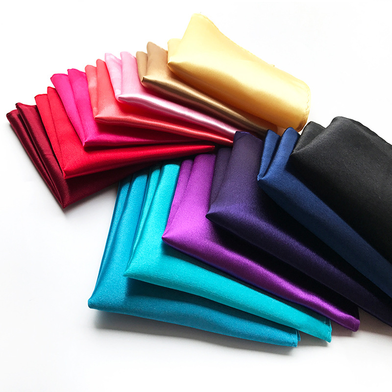 Men Accessories Suit Chic Square Solid Color Hanky  For Wedding Dress Party Solid Plain  Silk Pocket Square Handkerchief