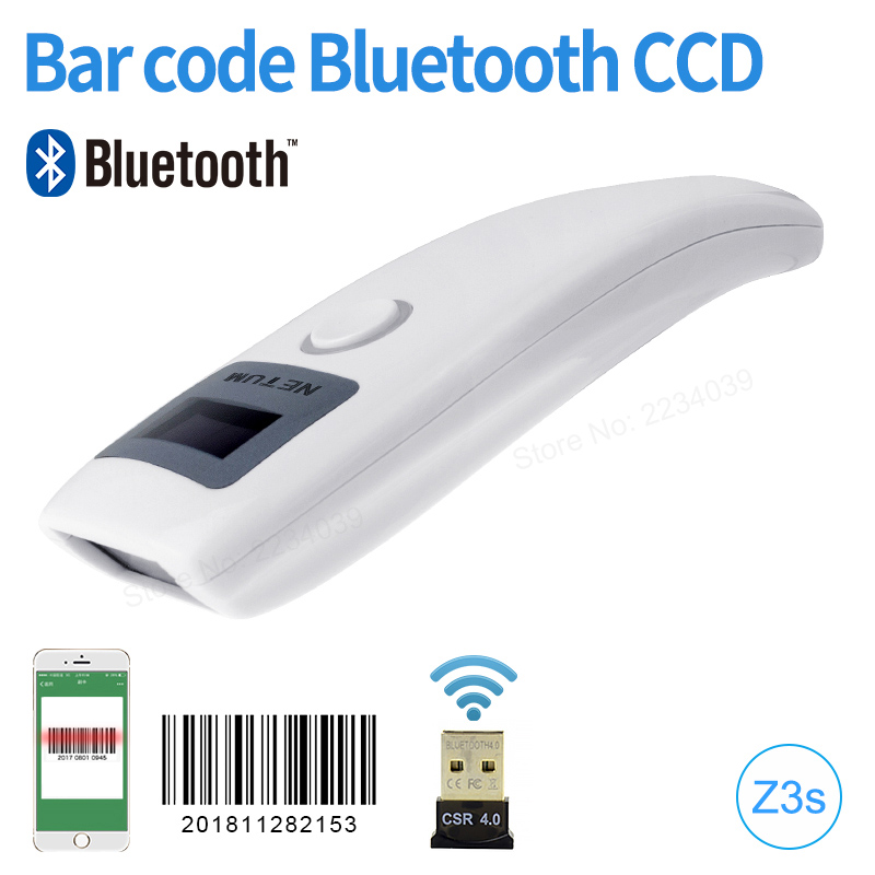 Sans fil Bluetooth CCD Barcode scanner Mobile 1D lecteur de code à barres De Poche scanner avec écran scan pour windows/Mac ios/ android