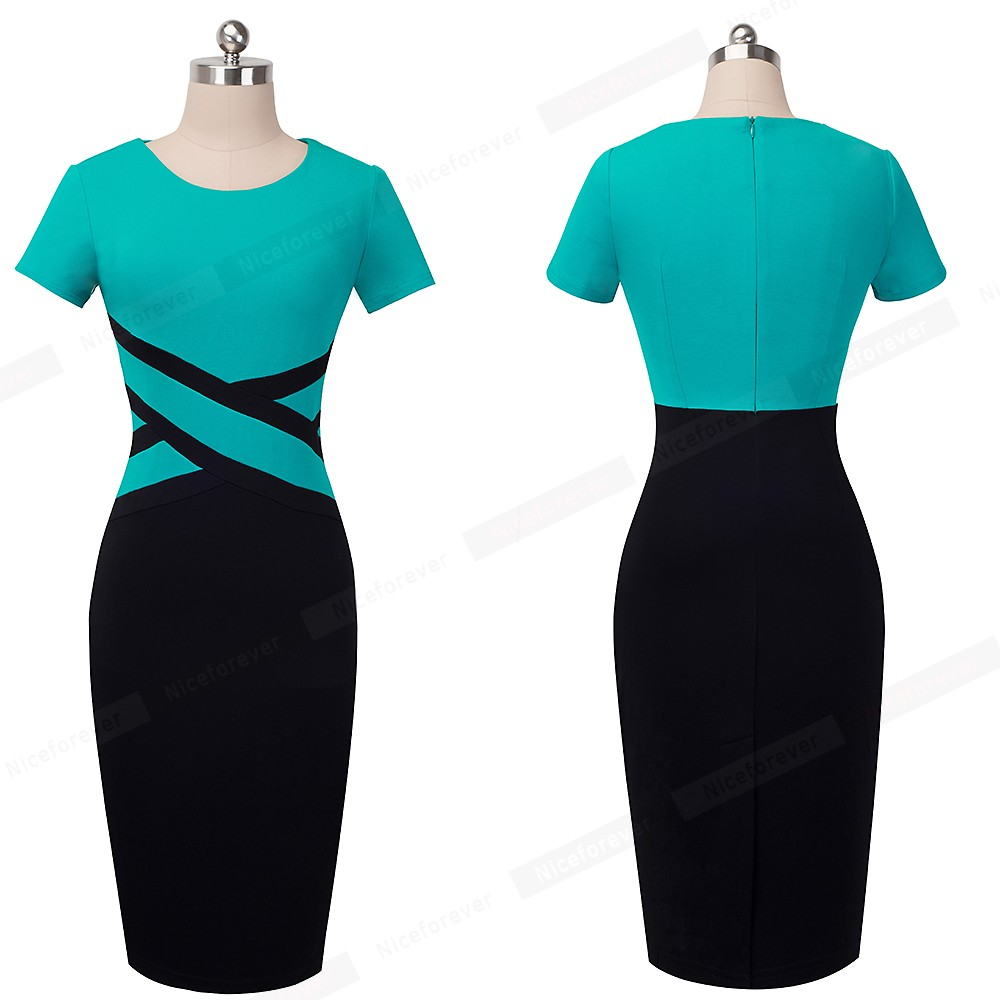 Nice-forever Vintage Elegant Contrast Color Patchwork Wear to Work vestidos Business Party Office Women Bodycon Dress B463 9
