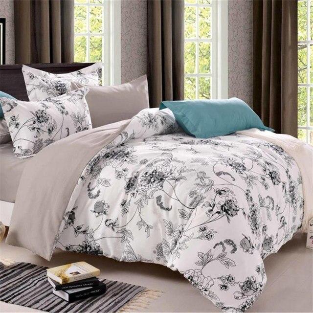 fleurs reine ensemble de literie couette couverture lit double draps de lin blanc housse de couette