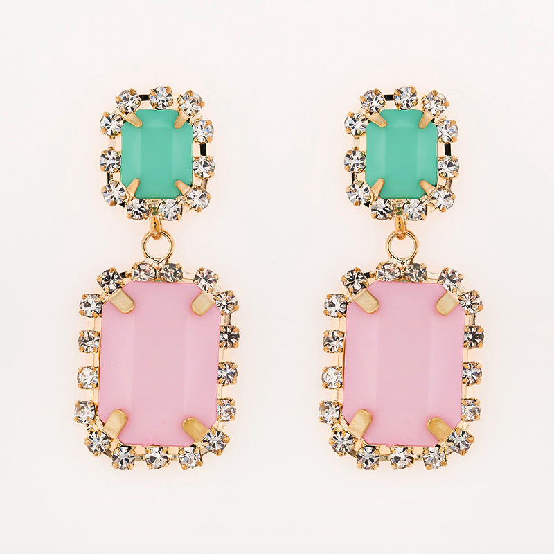 Square acrylic pink is green pink  vintage earrings #E031