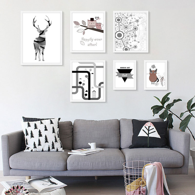 aliexpress : buy modern combination nordic art canvas cartoon