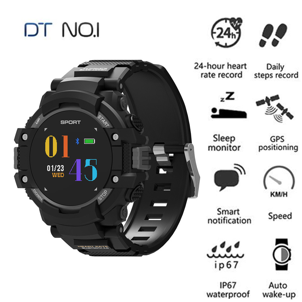 NO.1 F7 Smart Watch Real-Time Heart Rate Temperature Monitor Smart Watches GPS BT 2.0 Sport Wearable Devices For Android IOS