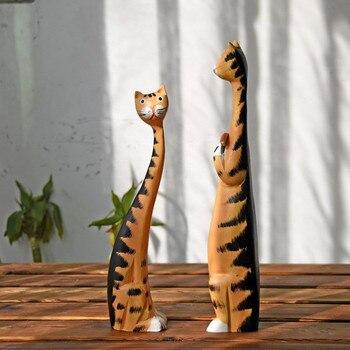 2 Unid/set Estatua De Gato De Madera Y Escultura Estatuas Creativas Para Decoración Del Hogar Accesorios Decoración Moderna E Industrial