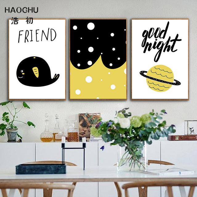 HAOCHU Nordic Black White Yellow Cartoon Animal Friend Whale Canvas ...