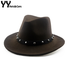 YY Chapeau Homme Vintage Trilby Cap Men Rivet Top Jazz Caps